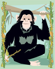 Ape in a decorative illustration