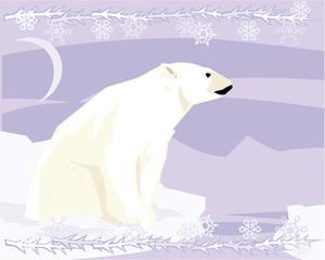 Polar bear in a decorative illustration