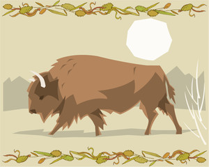 Bison in a decorative illustration