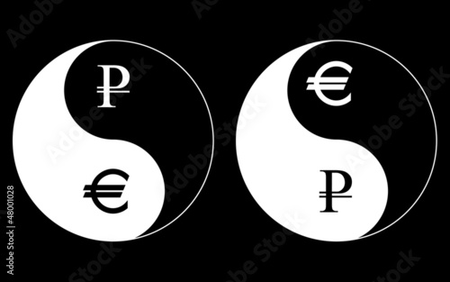 Yin-Yang currency symbols, ruble-euro, vector