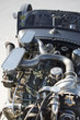 Engine of vintage racing car in Bonneville Salt Flats