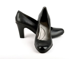 High Heel Black Leather Shoe