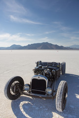 Vintage racing car in Bonneville Salt Flats
