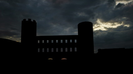 Italy Torino The Palatine Towers colorful dusk