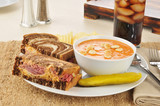 Reuben sandwich with tomato bisque soup