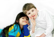 Multiethnic friends, young boy and girl