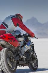 Super bike in Bonneville Salt Flats