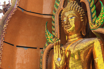 Big golden Buddha in temple of thailand