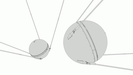 1957 Sputnik 1, technical lines drawing.