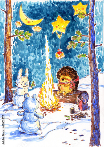 Watercolor Christmas story- 1