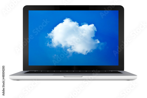Laptop mit Cloud Computing Wolke