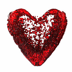 red liquid heart, isolated over white background