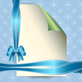 Note paper and bow for your message on blue background
