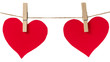 two red paper hearts hanging
