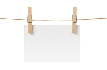 blank white paper card hanging