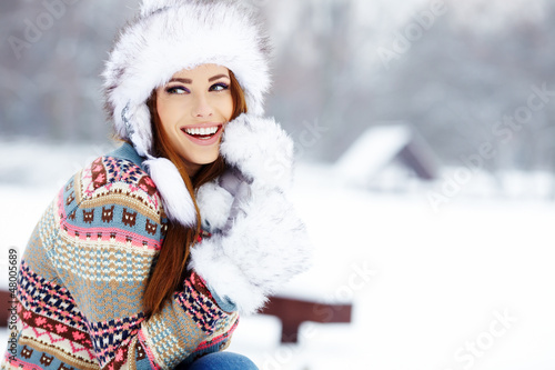 canvas print picture Young woman winter portrait. Shallow dof.