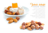 Turkish delight (lokum) with nuts on white background poster