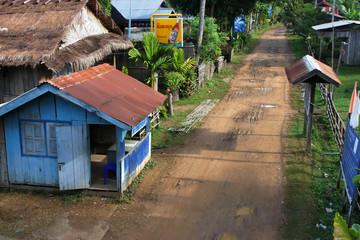 Rue de village sur l'île de Khone