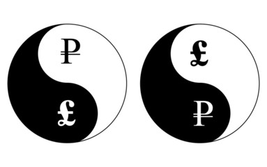 Yin-Yang currency symbols, ruble-pound, vector