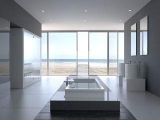 Designer Badezimmer mit Meerblick
