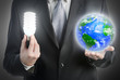 Businessman holding a light bulb and planet Earth.