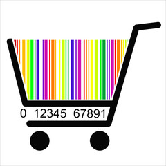 colorful BAR CODE Shopping basket, vector