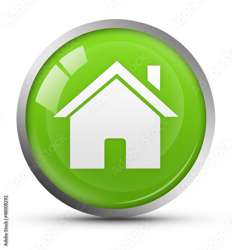 green glossy home icon
