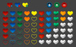 Colored heart favorite button, vector