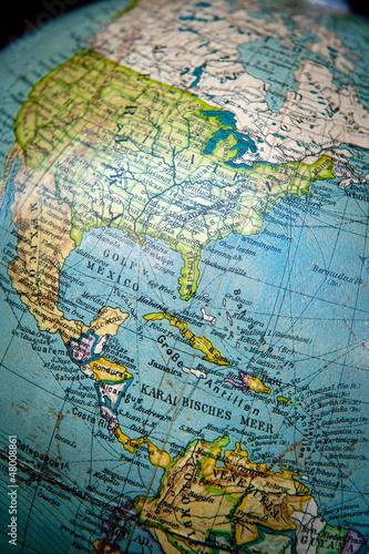 Vintage globe, America