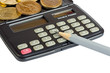 Calculator, coins and pencil