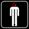 eco man symbol with thermometer or business man under stress, ve