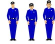 policemen in blue uniforms standing at attention
