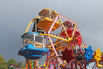 A Small Childrens Fun Fair Wheel Ride.