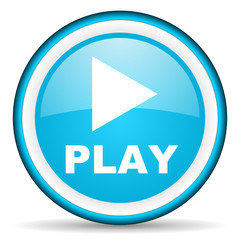 play blue glossy icon on white background
