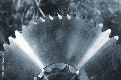 giant titanium gears against aluminum