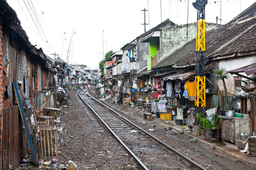 Unidentified poor people living in slum, Indonesia.