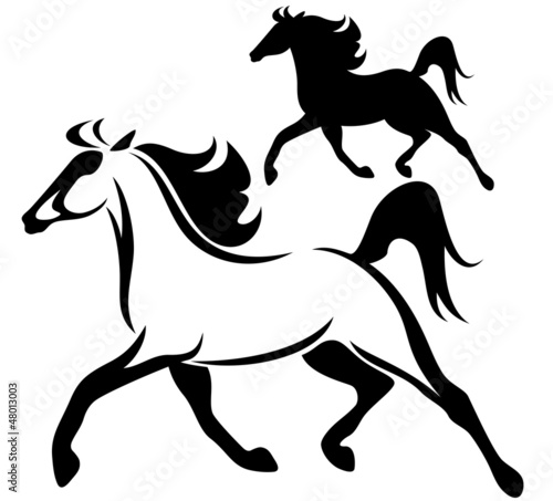 running horse vector outline and silhouette
