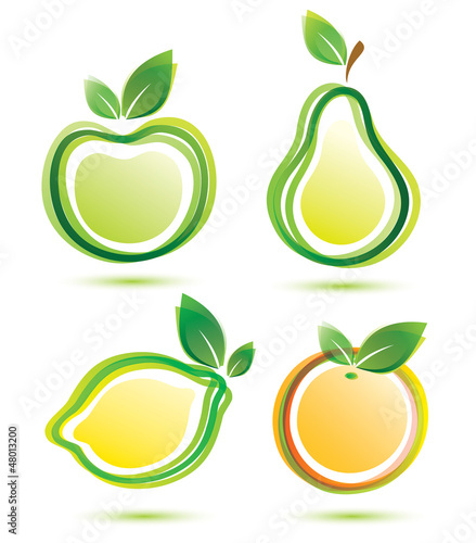 green fruits vector icons set