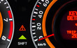 Car speed meter closeup