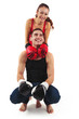 Couple portrait with boxing gloves on white background.
