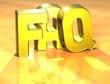 3D Word FAQ on yellow background