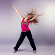 Pretty Young Woman Enjoying Zumba Fitness