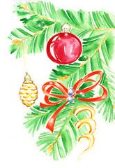 Watercolor Christmas branch-2