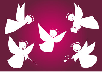 Angeli bianchi stilizzati vettoriali