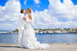 bride and groom hugging on background blue sea and bright sky