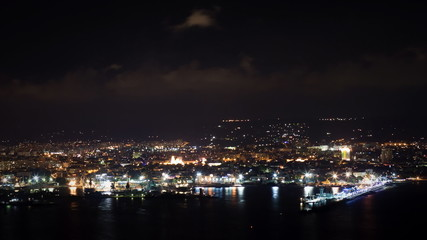 Varna port at night - time lapse