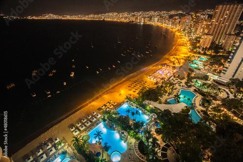 Fotobehang Zonsondergang op het Strand Acapulco
