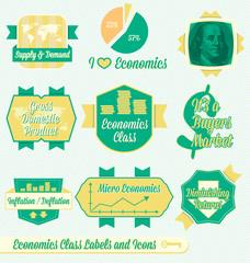 Vector Set: Vintage Economics Class Labels and Icons