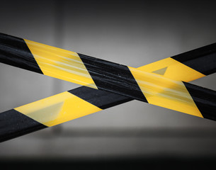 Black and yellow striped tapes. Restricted area border