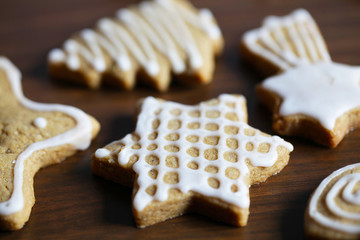 Gingerbread cookies with sugar icing, Christmas
